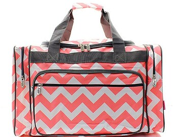 bd343b7463ee 20 inch Chevron Print Canvas Monogrammed Duffle Bag Coral and White with  Gray Trim