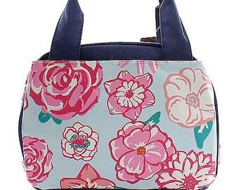 Floral Print Monogrammed Lunch Box Navy Blue Trim. CoHoBags d7461984730c3