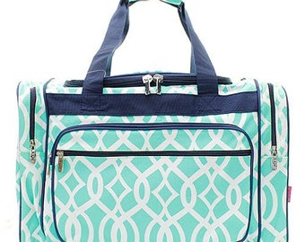 5475f5112f 20 inch Vine Print Canvas Monogrammed Duffle Bag Mint and White with Navy  Trim