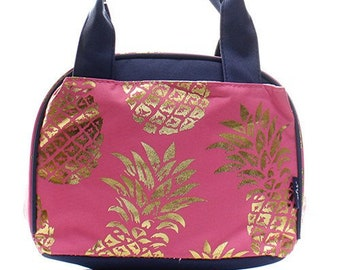 Gold Foil Pineapple Print Insulated Lunch Box Coral Pink with Navy Blue  Trim. CoHoBags c4be5968fe968