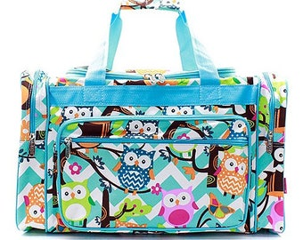 2596d413ad94 20 inch Chevron Owl Print Canvas Monogrammed Duffle Bag Blue and White with  Turquoise Trim