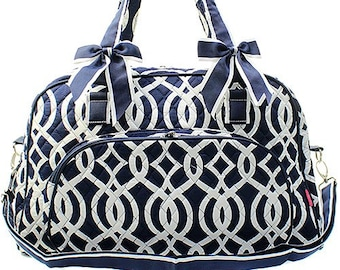 Vine Print Weekender Monogrammed Duffle Bag Navy Blue and White. CoHoBags a7240721331c4