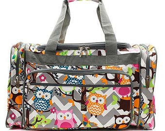 a7ac270b0420 20 inch Chevron Owl Print Canvas Monogrammed Duffle Bag Gray and White with  Gray Trim