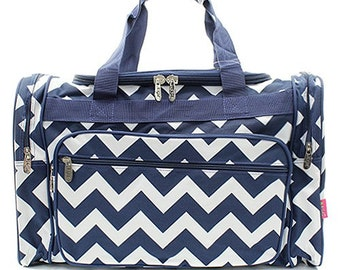 0f9dfca3c256 20 inch Chevron Print Canvas Monogrammed Duffle Bag Navy Blue and White