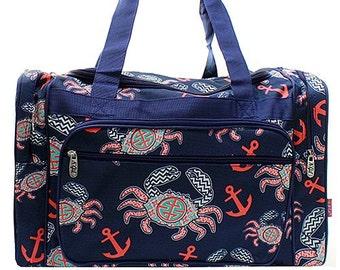 20 inch Crab Print Canvas Monogrammed Duffle Bag Navy Blue Trim