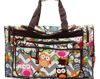 c85d12d2ac9b 20 inch Chevron Owl Print Canvas Monogrammed Duffle Bag Gray and White with  Brown Trim