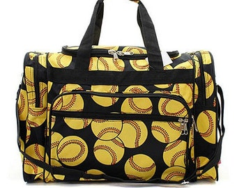 20 inch Softball Print Canvas Monogrammed Duffle Bag. CoHoBags abc697c11a1fa