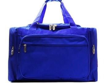 20 inch Solid Color Royal Blue Canvas Monogrammed Duffle Bag. CoHoBags 62e90b6c78e1d