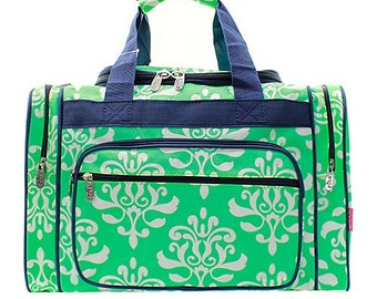 c7bb092bc8 20 inch Damask Bloom Print Canvas Monogrammed Duffle Bag Mint and White Navy  Blue Trim