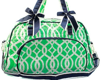 Vine Print Weekender Monogrammed Duffle Bag Mint Green and White with Navy  Blue Trim. CoHoBags e1817e19b677b