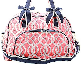 f50d4a6059 Vine Print Weekender Monogrammed Duffle Bag Coral and White with Navy Blue  Trim