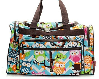 3c79466e2d72 20 inch Chevron Owl Print Canvas Monogrammed Duffle Bag Blue and White with  Brown Trim
