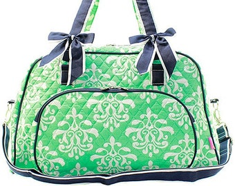 ce0d024ccb Damask Bloom Print Weekender Monogrammed Duffle Bag Mint Green and White  with Navy Blue Trim