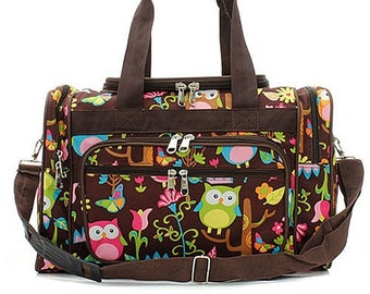 42324ae5b35a 20 inch Owl Print Canvas Monogrammed Duffle Bag Brown Trim