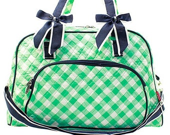 5c4e4b58a0 Checkered Print Weekender Monogrammed Duffle Bag Mint Green and White with  Navy Blue Trim