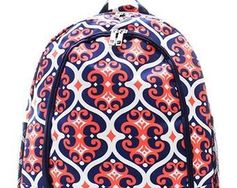 Navy and Coral Vine Print Monogrammed School Backpack Navy Blue Trim.  CoHoBags 516ab960d3aae