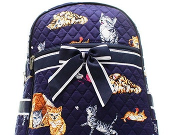 Cat Kitten Print Quilted Monogrammed Backpack a65caed32c22d