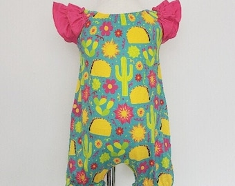 Toddler Baby Girls Bodysuit Short-Sleeve Onesie Taco Drinks Print Jumpsuit Winter Pajamas