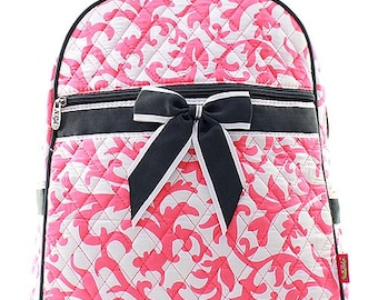 Damask Print Monogrammed Quilted Backpack Coral Pink and White with Gray  Trim 2eae53eefdbdf