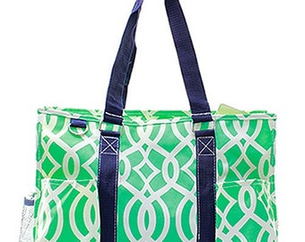 Vine Print Medium Size Utility Tote Bag Mint Green and White with Navy Blue  Trim. CoHoBags 4f44d1498a29e