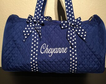 Royal Blue and White Monogrammed Duffle Bag. CoHoBags 8dfb41d0d5c14