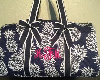 Large Pineapple Print Monogrammed Duffle Bag Navy Blue Trim. CoHoBags 5e25b8dbffb93