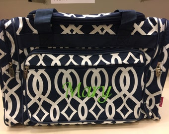 20 inch Vine Print Canvas Monogrammed Duffle Bag Navy Blue and White.  CoHoBags a49bab92b4a10