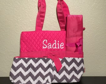 4aed4e25bdd5 Chevron Print Monogrammed Diaper Bag Gray and White with Hot Pink Trim