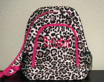 a65880fa4e Leopard Print Monogrammed School Backpack with Hot Pink Trim