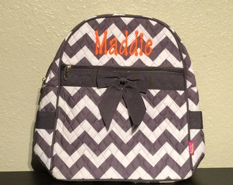 5ce46b120917 Chevron Print Monogrammed Quilted Backpack Gray and White with Dark Gray  Trim