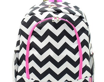 bd85d47560a9 Chevron Print Monogrammed School Backpack Black and White with Hot Pink Trim
