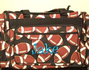 e68d3affb3 20 inch Football Print Canvas Monogrammed Duffle Bag