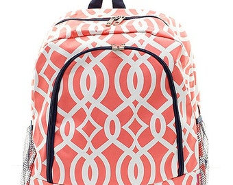 Vine Print Monogrammed School Backpack Coral and White with Navy Blue Trim.  CoHoBags 9e1aef49f2684