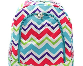 5dd342c8d1c1 Chevron Print Monogrammed School Backpack Multi Color with Turquoise Trim