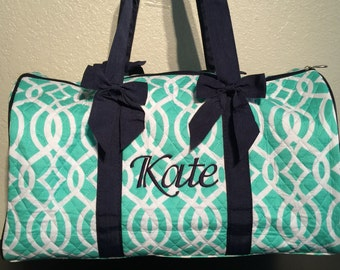 dbf52ea02f Vine Print Monogrammed Duffle Bag Mint Green with Navy Blue Trim