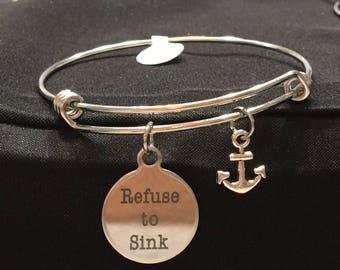 Refuse to Sink Nautical Anchor Adjustable Bangle Style Bracelet