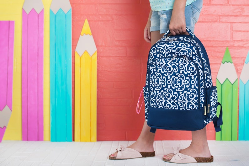 Dani Print Viv /& Lou Monogrammed School Backpack Free Monogramming Navy Blue and White