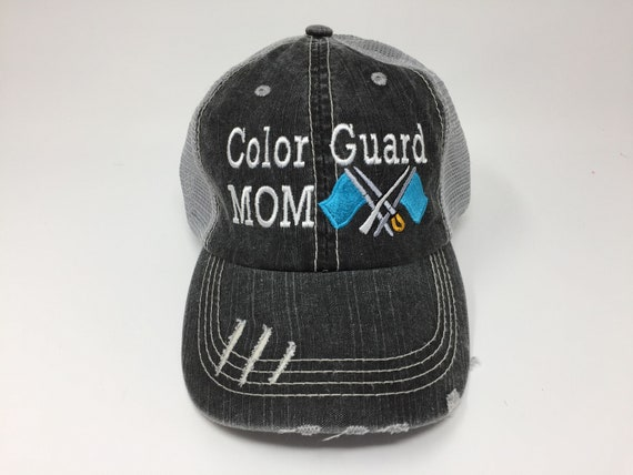 b107cb093eb84 Color Guard Mom with Flags Monogrammed Embroidered Trucker Cap