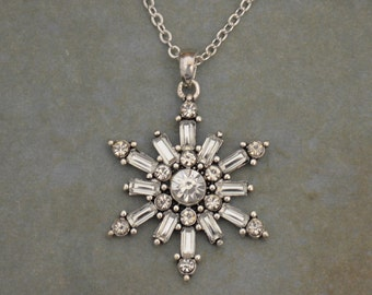 Snowflake Rhinestone Necklace Christmas Winter Jewelry