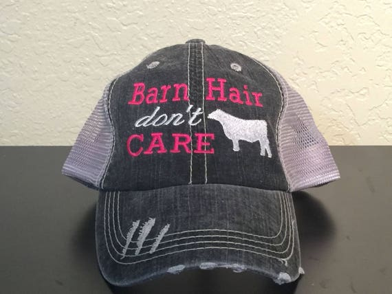 e5ce53758 Barn Hair don't Care with Steer Embroidered Monogrammed Distressed Trucker  Cap Dark Gray