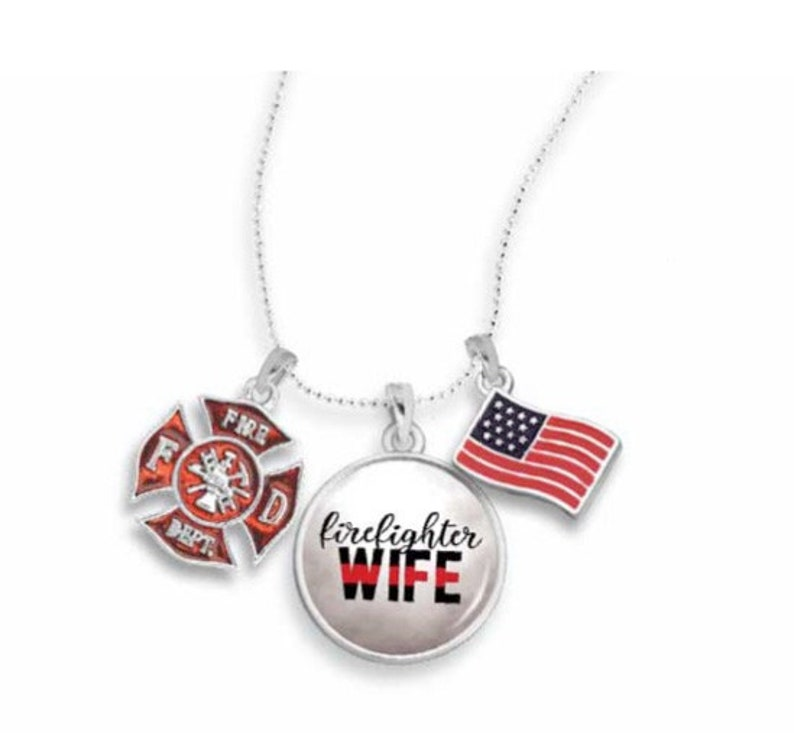Firefighter Wife Necklace with Three Charms