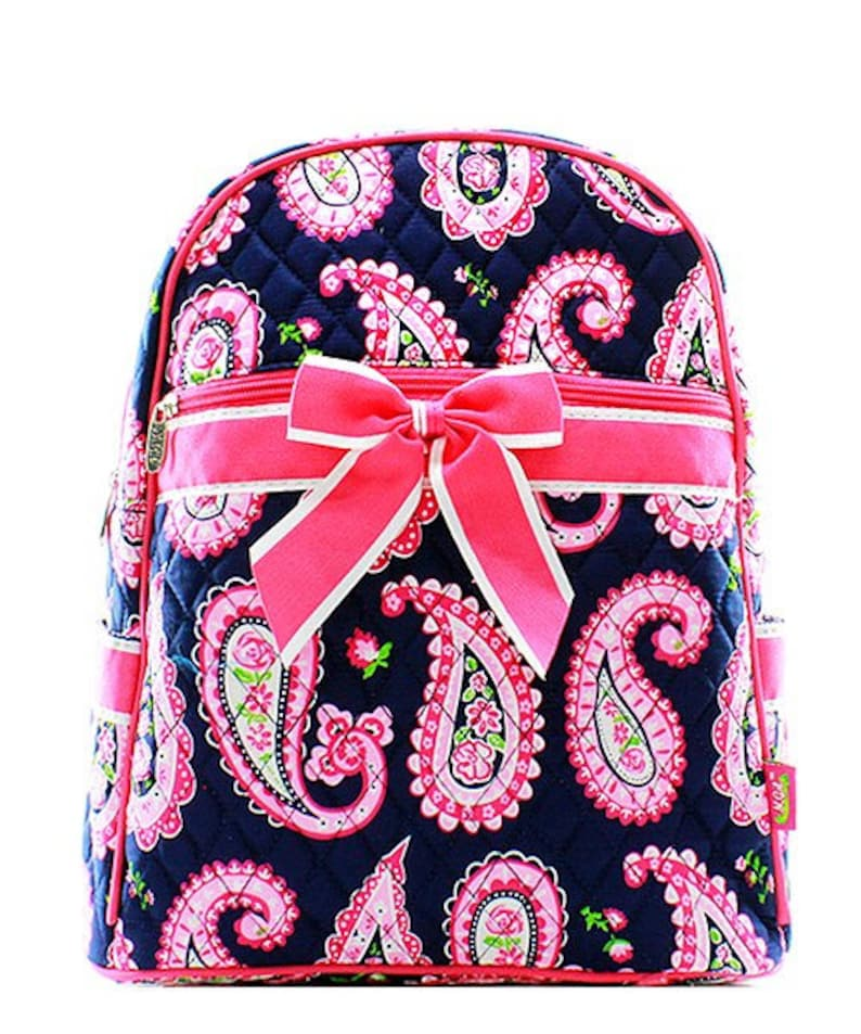 Paisley Print Quilted Monogrammed Backpack Hot Pink Trim