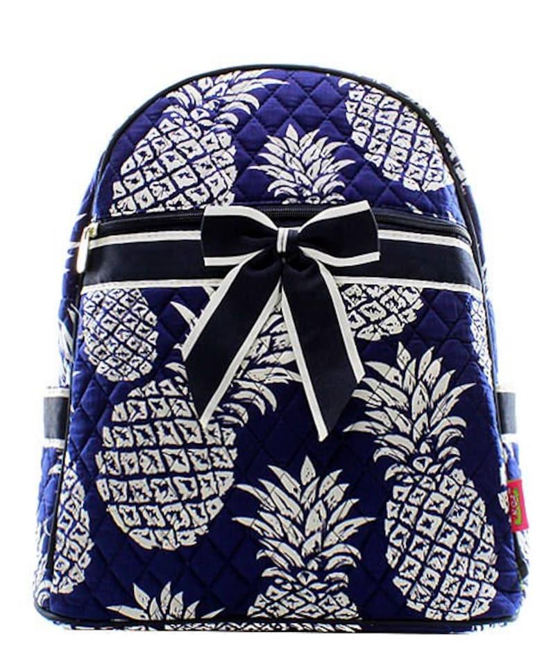 Preppy Pineapple Print Quilted Monogrammed Backpack Navy Blue Trim