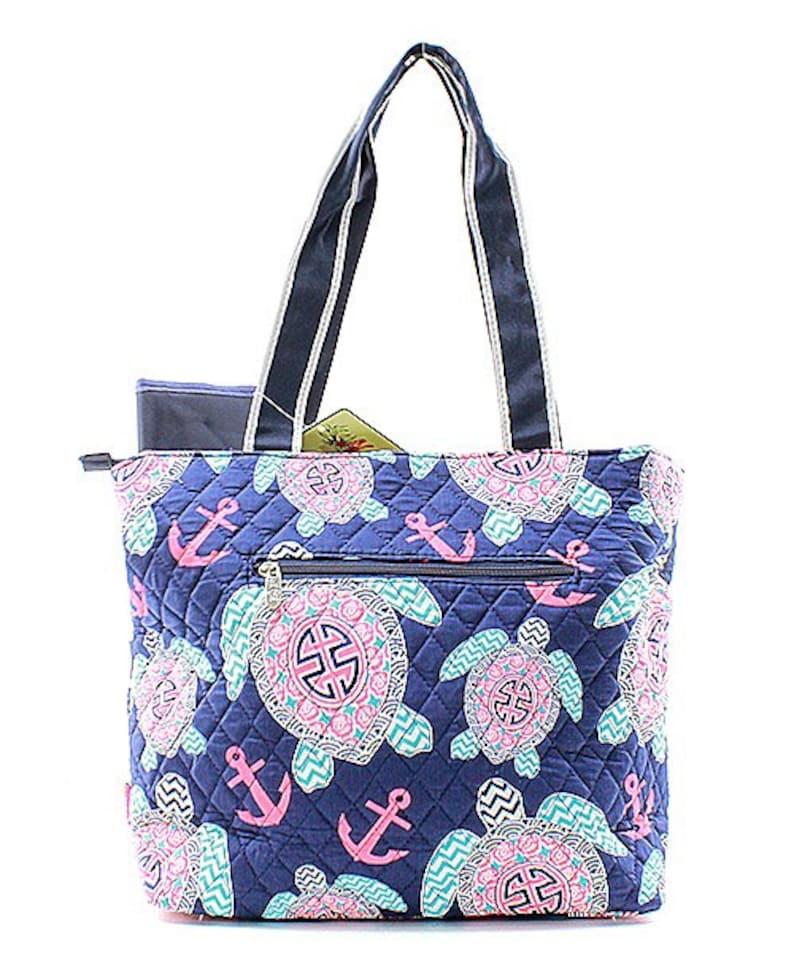 Turtle and Anchor Print Nautical Theme Monogrammed Diaper Bag Navy Blue Trim