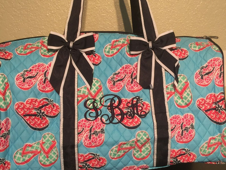 151545266c73 Flip Flop Print Monogrammed Quilted Duffle Bag Navy Blue Trim