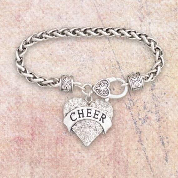 Cheer Charm Bracelets: CHEER Rhinestone Heart Charm Bracelet