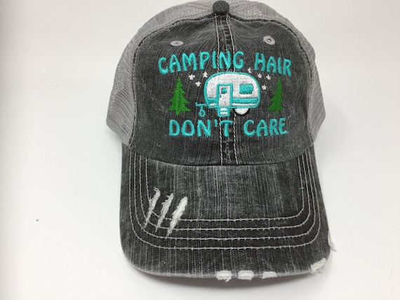 91ea4b4f985 Camping Hair Don t Care with Pull Camper and Trees