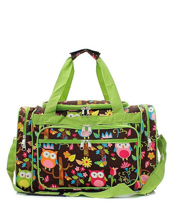 eeb571beb24f 20 inch Owl Print Canvas Monogrammed Duffle Bag Lime Green Trim