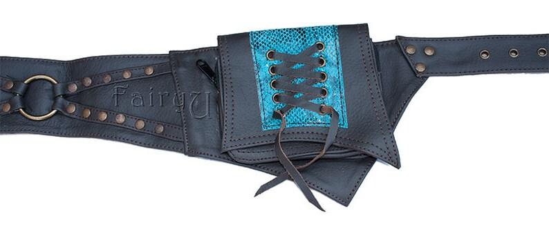 travel belt bag 0015 Burning Man belt Geryon leather pocket belt hip pack festival belt waist pockets Steampunk utility belt