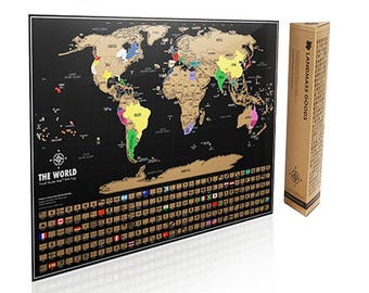 Scratch off Map - Black and Gold World Map - Scratch where you've been on the Travel Tracker Map ®- Perfect Gift for Travel Lovers - Poster